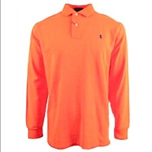Polo Longsleeve Orange Shirt, XL